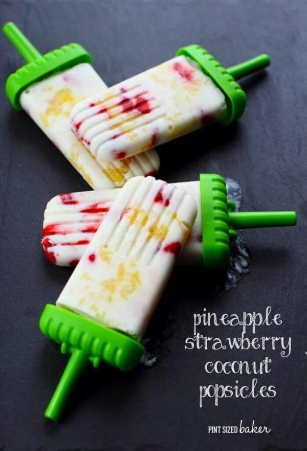 Pineapple Strawberry Coconut Popsicles