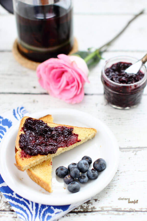 Homemade Blueberry Jam in the summer is the best! It's perfect on my breakfast toast.