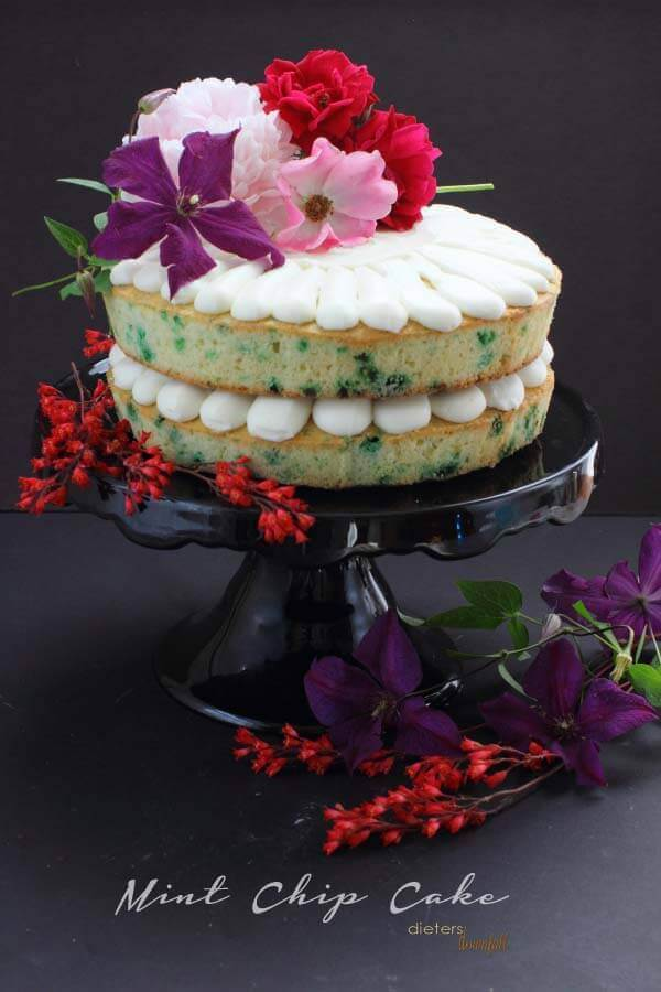 Make Pound Cake filled with Mint Chips for a fun flavor change. Mint Chip Cake decorated with fresh flowers.