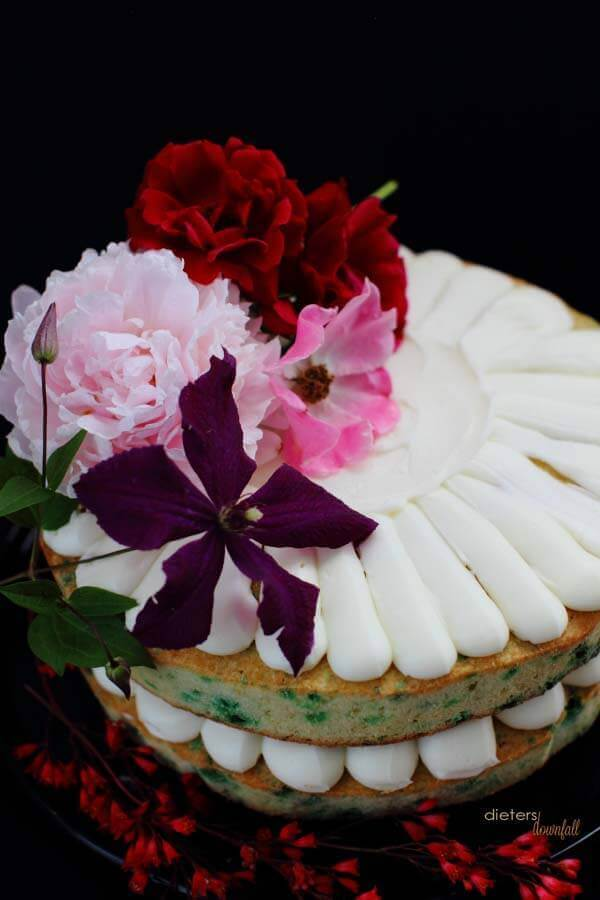 Fresh Roses, Peonies, and Clematis decorte this easy and fun mint chip cake.