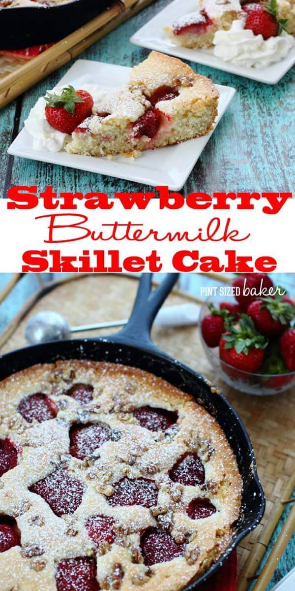 Strawberry Skillet Cake Collage-a