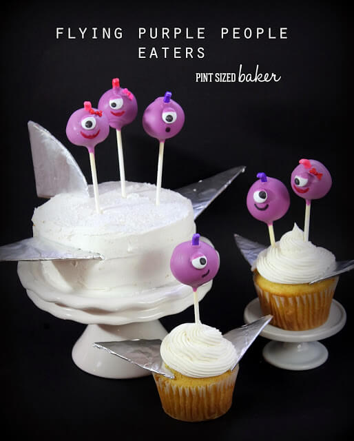 Flying Purple People Eaters Cake Pops