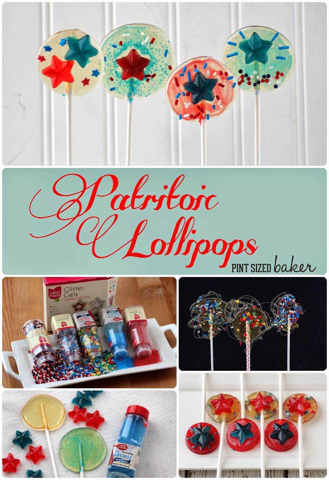 Red, White and Blue Lollipops