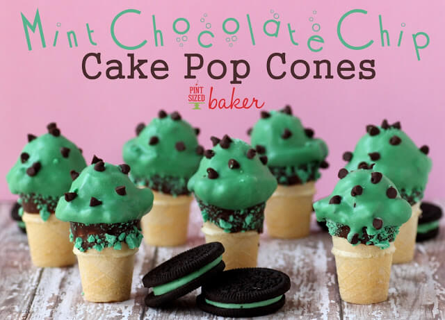 Mint Chocolate Chip Cake Pop Cones