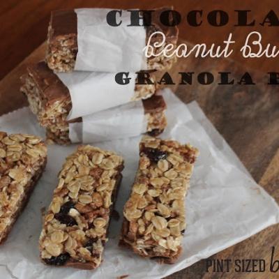 Chocolate Cinnamon Raisin Peanut Butter Granola Bars