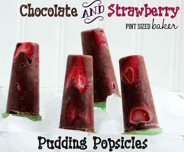 Chocolate Pudding and Strawberry Pops