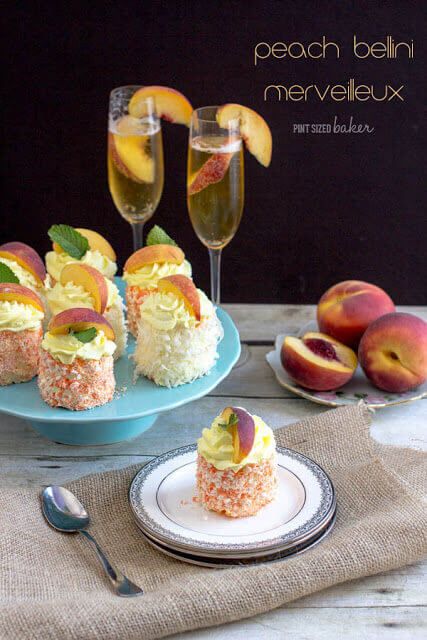 Impress your guests with these individual meringue desserts. French Merveilleux are flavored with Peach and Champagne for a unique dessert!