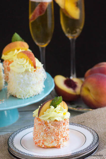 Who doesn't love a Peach Bellini? These marvelous Merveilleux are flavored with Peach and Champagne so you can now eat your Bellini as well!