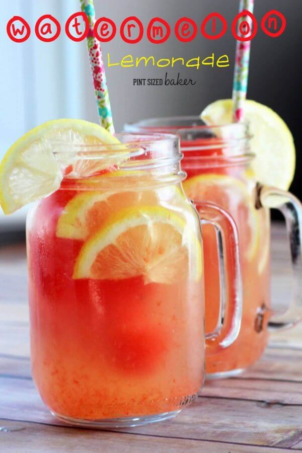 homemade lemonade with watermelon ice cubes drink.