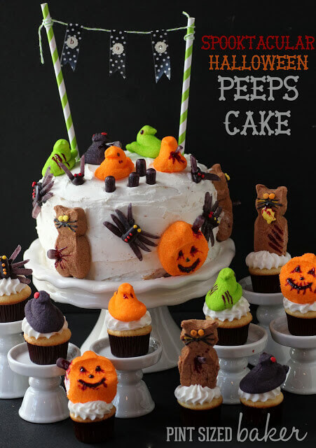 Simple cake decorated with Halloween Peeps.
