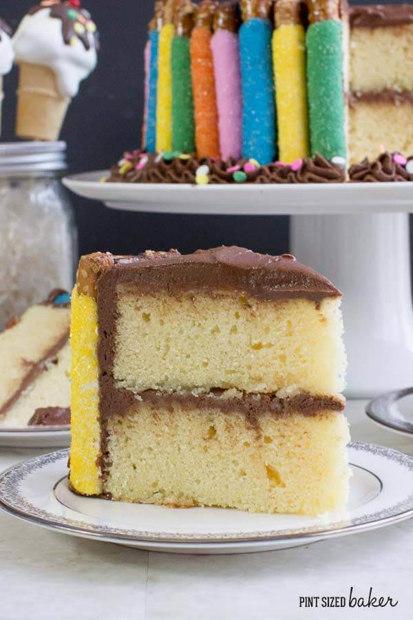 Perfect Vanilla Butter Cake with easy chocolate frosting. The perfect slice of Birthday cake!