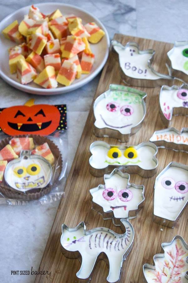 The kids can totally make this easy Halloween Fudge. Just two main ingredients, some eyeball candy, and edible markers make these fun little treats.