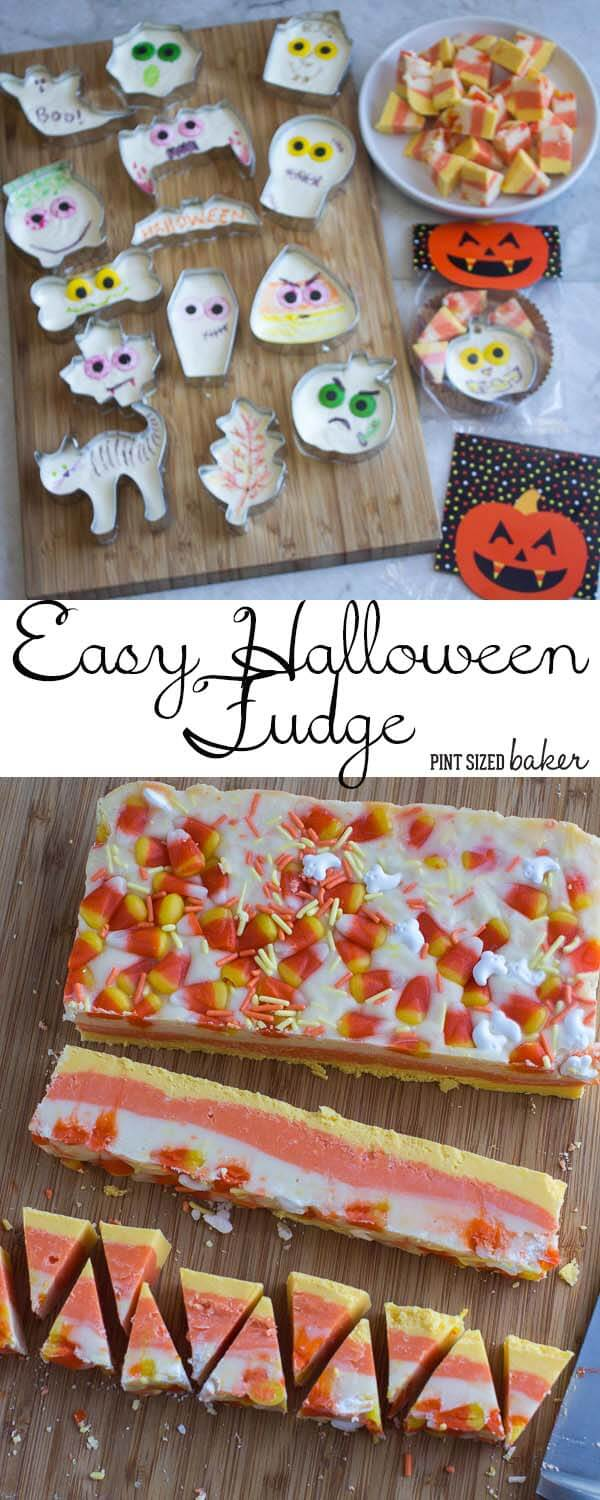 Easy Halloween Fudge - Made with two main ingredients and then use your imagination to decorate them. Perfect for school gift giving!