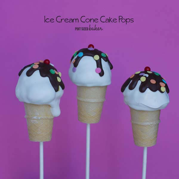 Fun Ice cream Cone Cake Pops are a great no-melt treat for all the kids to enjoy!