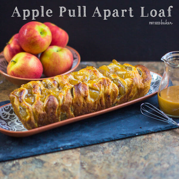 Layers and layers of pull apart bread full of chunks of apples and covered in caramel sauce. Perfect for a fall dessert.