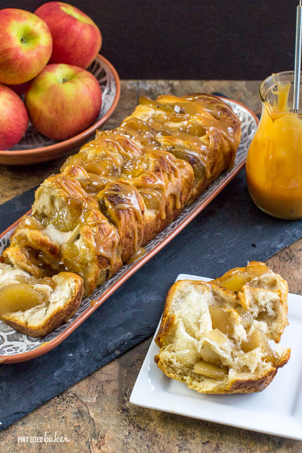 Everyone can grab a slice of the apple cinnamon and caramel pull apart bread. It's a breeze to whip for for the family.