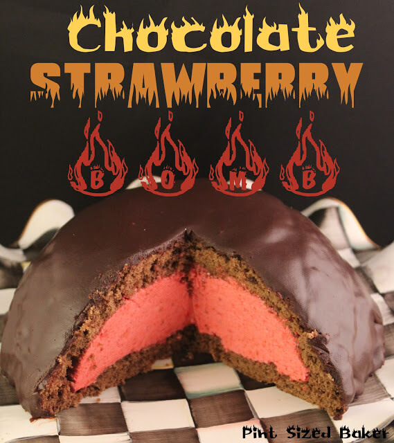 Chocolate Strawberry Bomb Cake