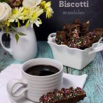 Warm up with a hot cup of coffee and some chocolate brownie biscotti.