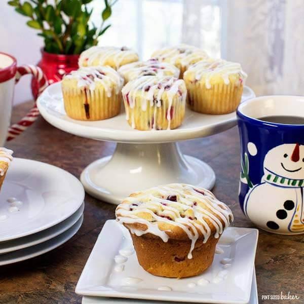 Tart cranberries in sweet cream cheese muffins. Wake up to a wonderful breakfast treat!