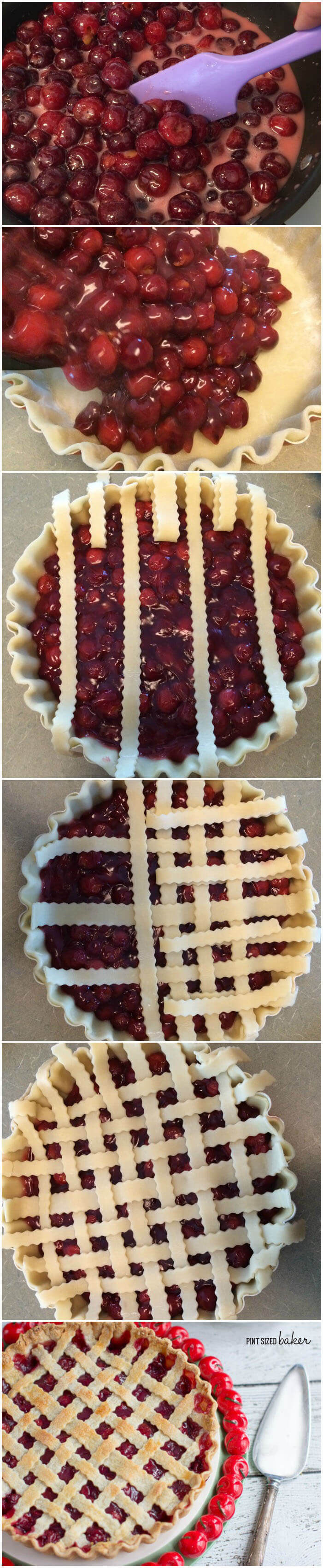 Baking a Deep Dish Cherry Pie is a piece of cake - I mean pie! Making the lattice top just makes this pie look amazing.