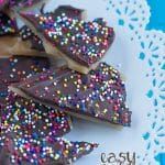 Easy Toffee covered in chocolate and rainbow sprinkles! It's a great snack to whip up and enjoy!