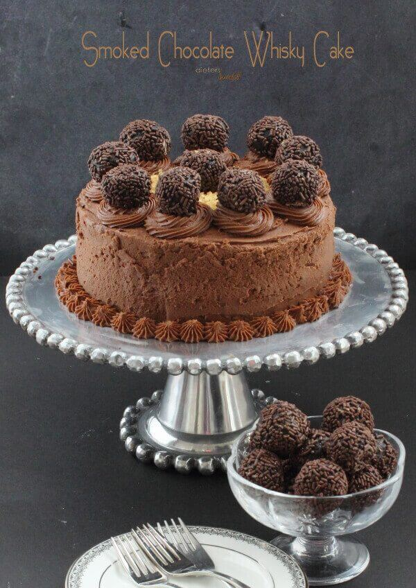 Chocolate Cake spiked with Whisky and Smoked Chocolate. It's a great flavor combination.