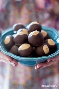 Serve up a big bowl of easy peanut butter Buckeye Candies this holiday season. Everyone loves them!
