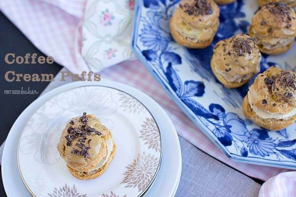 Easy Cream Puffs that are spiked with a shot of espresso and some chocolate covered coffee beans.