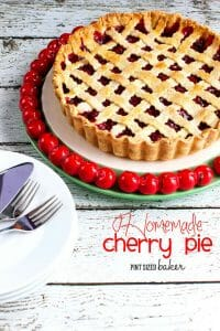 Homemade Cherry Pie! Baked in a tart pan for an extra special deep dish treat!