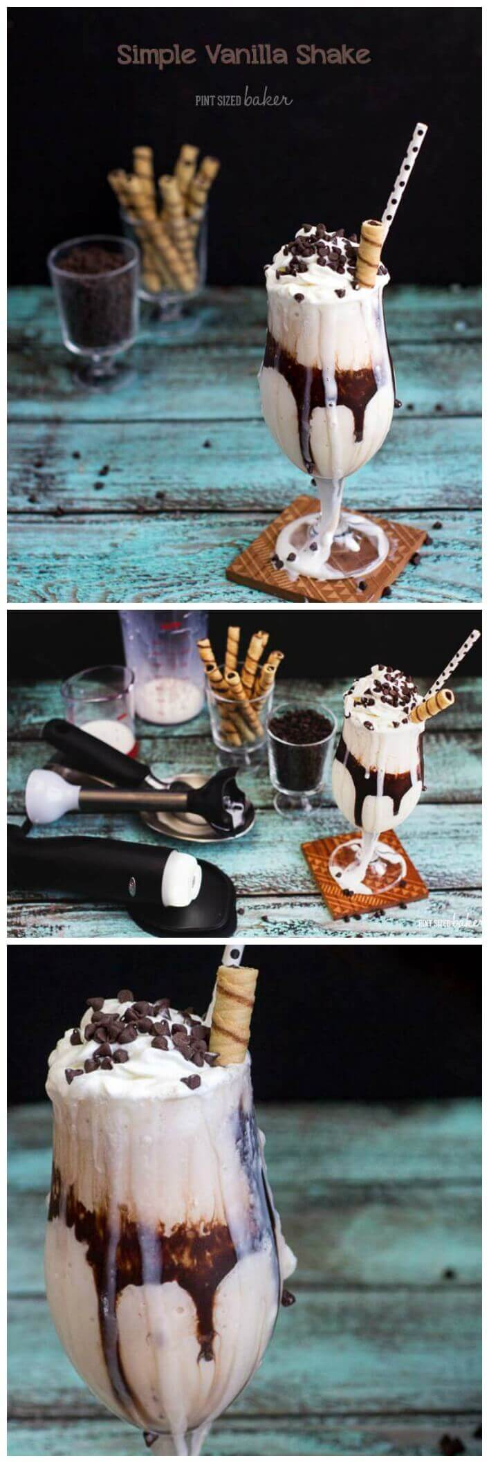 This quick and easy Vanilla Milkshake is the BOMB! No frills, no, crazy ingredients. Just ice cream, milk, and some chocolate for fun!