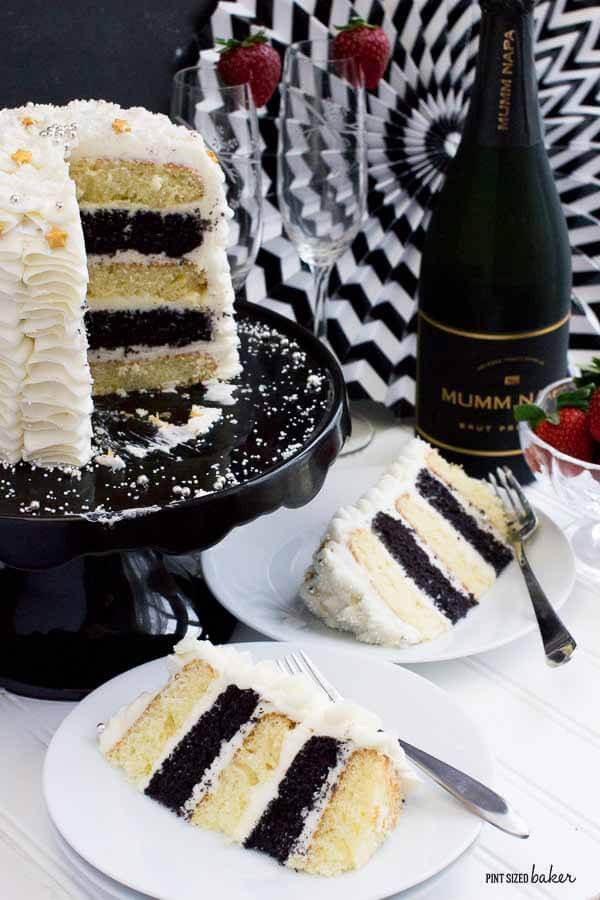 Black &amp- White 50th Birthday Cake