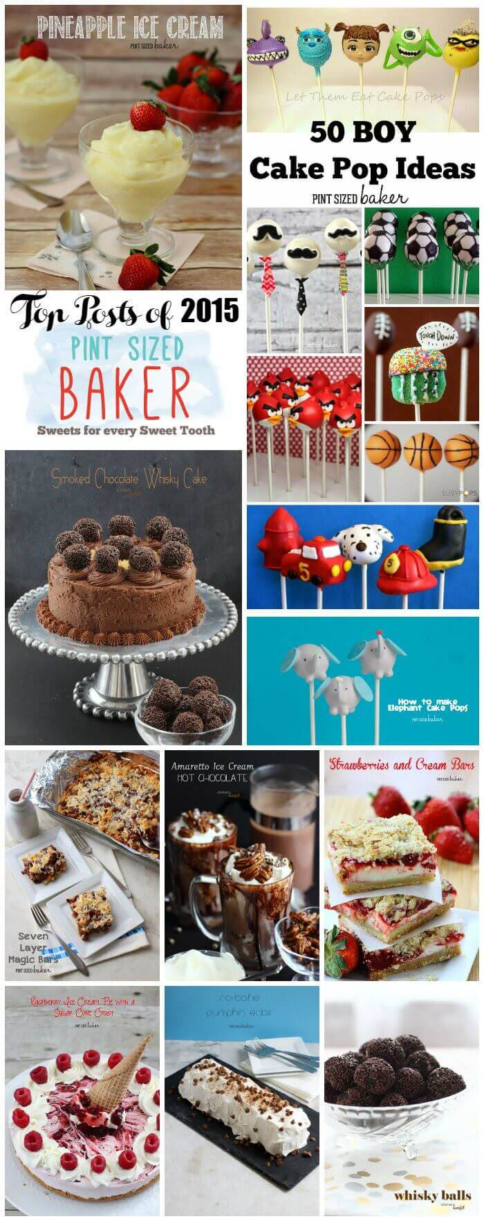 Enjoy the best of 2015 from Pint Sized Baker! A great collection of cake pops, bars, and frozen treats!