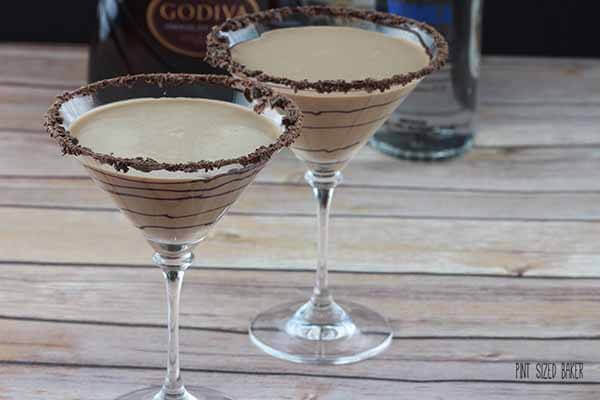 Chocolate Martinis - Godiva Chocolate Liquor, Vodka, and Creme de Cocoa with a touch of cream.
