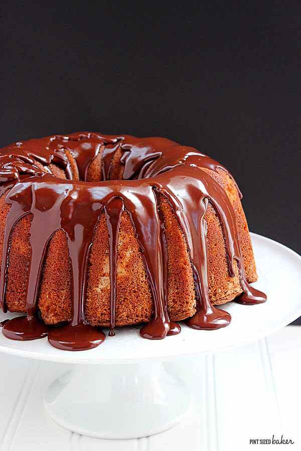 A simple image of the bundt cake covered with the chocolate ganache.