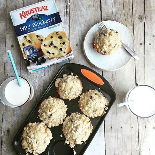 Enjoy Krusteaz Blueberry Muffins for National Hot Breakfast Month.