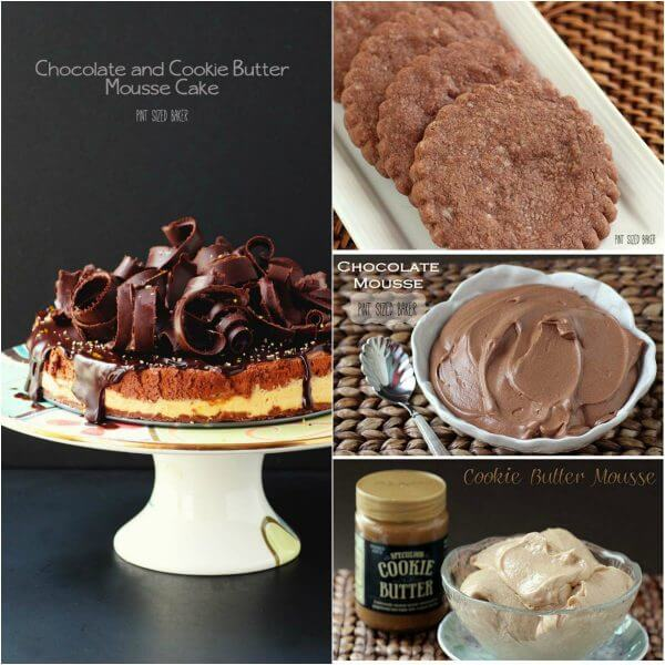 Homemade Chocolate Shortbread cookie crust, two types of mousse filling, and a pile of chocolate curls makes this an amazing Mousse Cake.