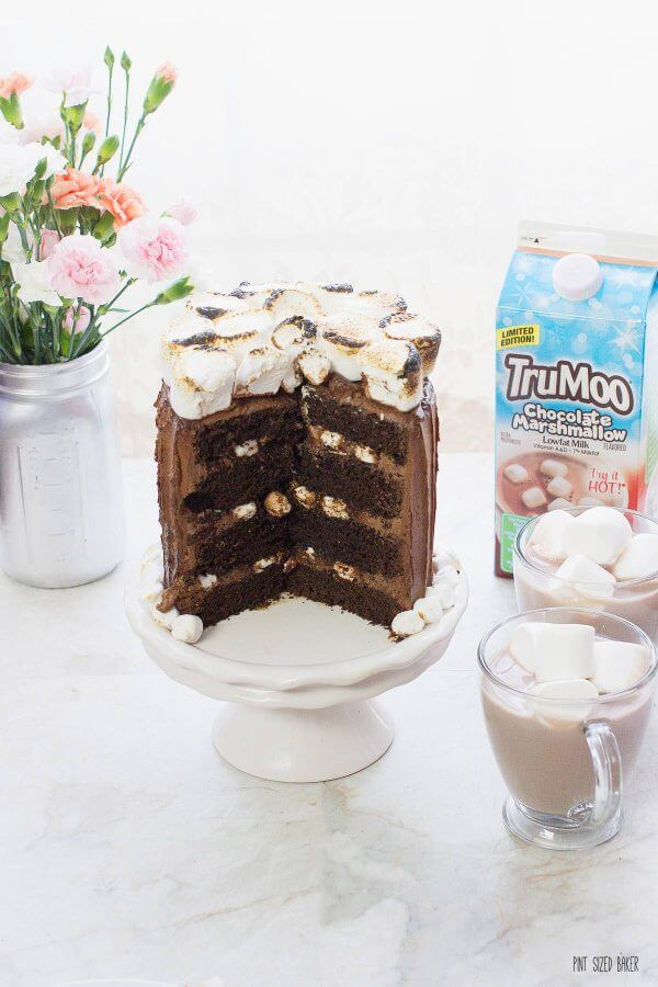 Decadent Chocolate Cake made with Chocolate Milk! It's a great way to impress your kids with TruMoo.