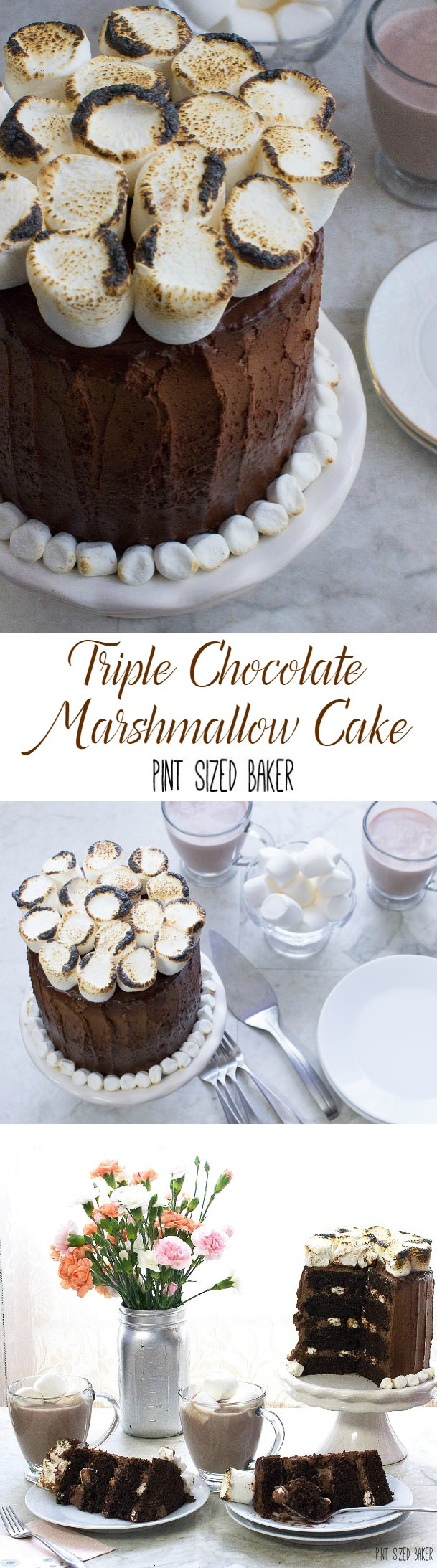 This Triple Chocolate Marshmallow Cake is calling my name!! Chocolate Cake, and fudgy frosting with toasted marshmallows is a really delicious dessert!
