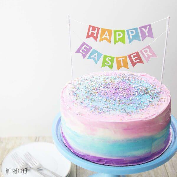 Sweet and simple. This Girly Galaxy Cake is all dressed up for an Easter party.