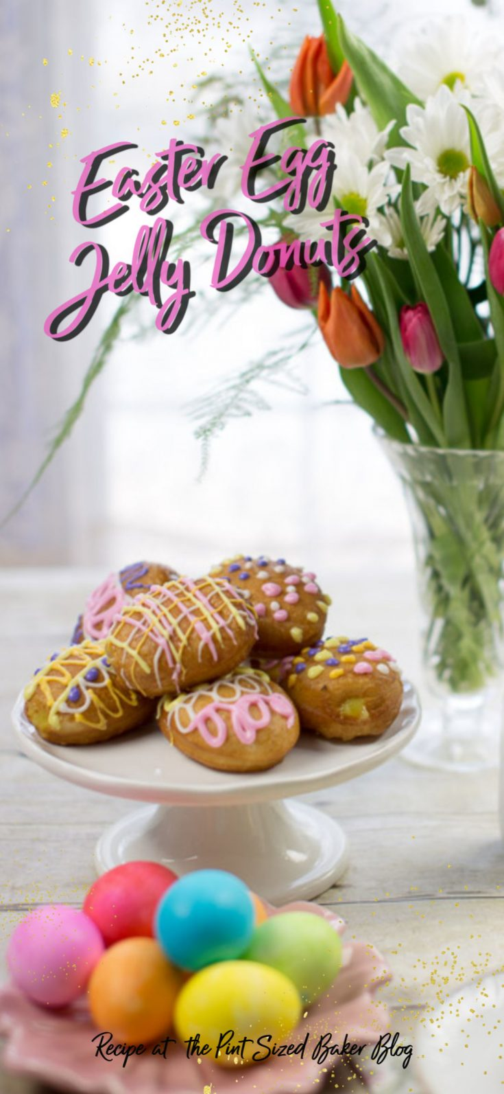 These lemon filled jelly donuts are perfect for any day of the year, but you can make them extra special for Easter by decorating them to look like an Easter egg!