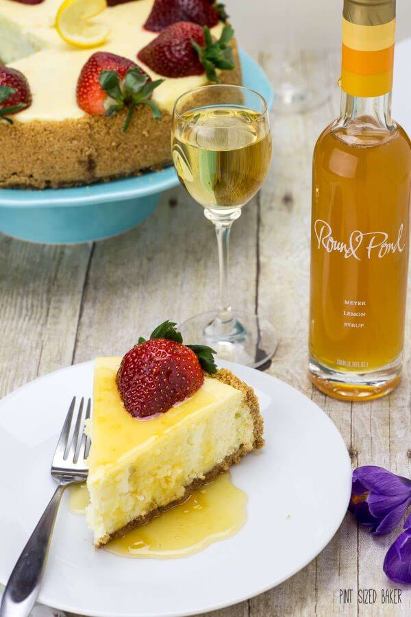 Sweet Lemon cheesecake served with Meyer Lemon simple syrup from Round Pond Vineyard and Liana dessert wine from Peju.