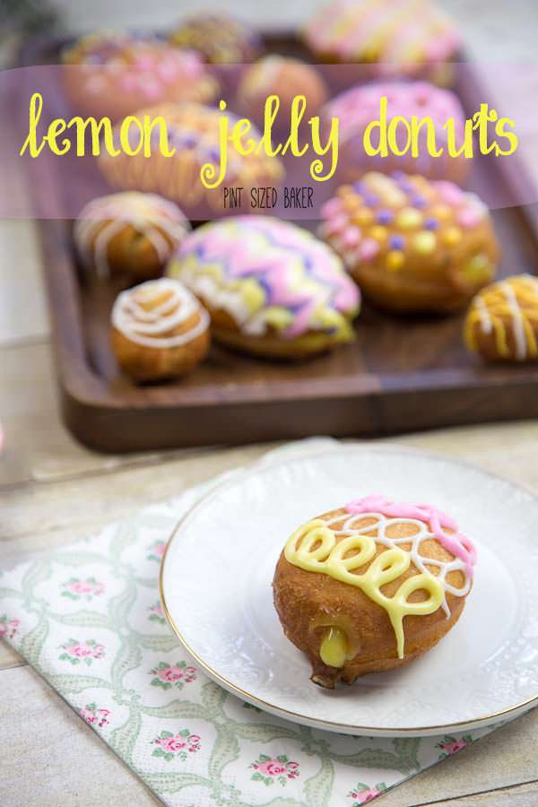 These easy Lemon Jelly Donuts are great for the kids to help and make! Simple biscuit donuts shaped into eggs, filled with lemon pie filling and decorated with a soft royal icing.