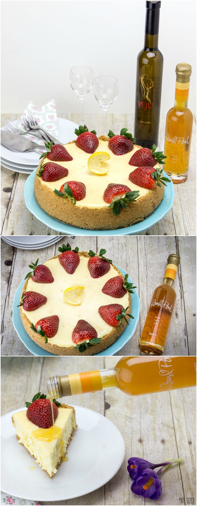 Sweet Meyer lemon artisan syrup from Round Pond Vineyards is the perfect topping to this lemon cheesecake.