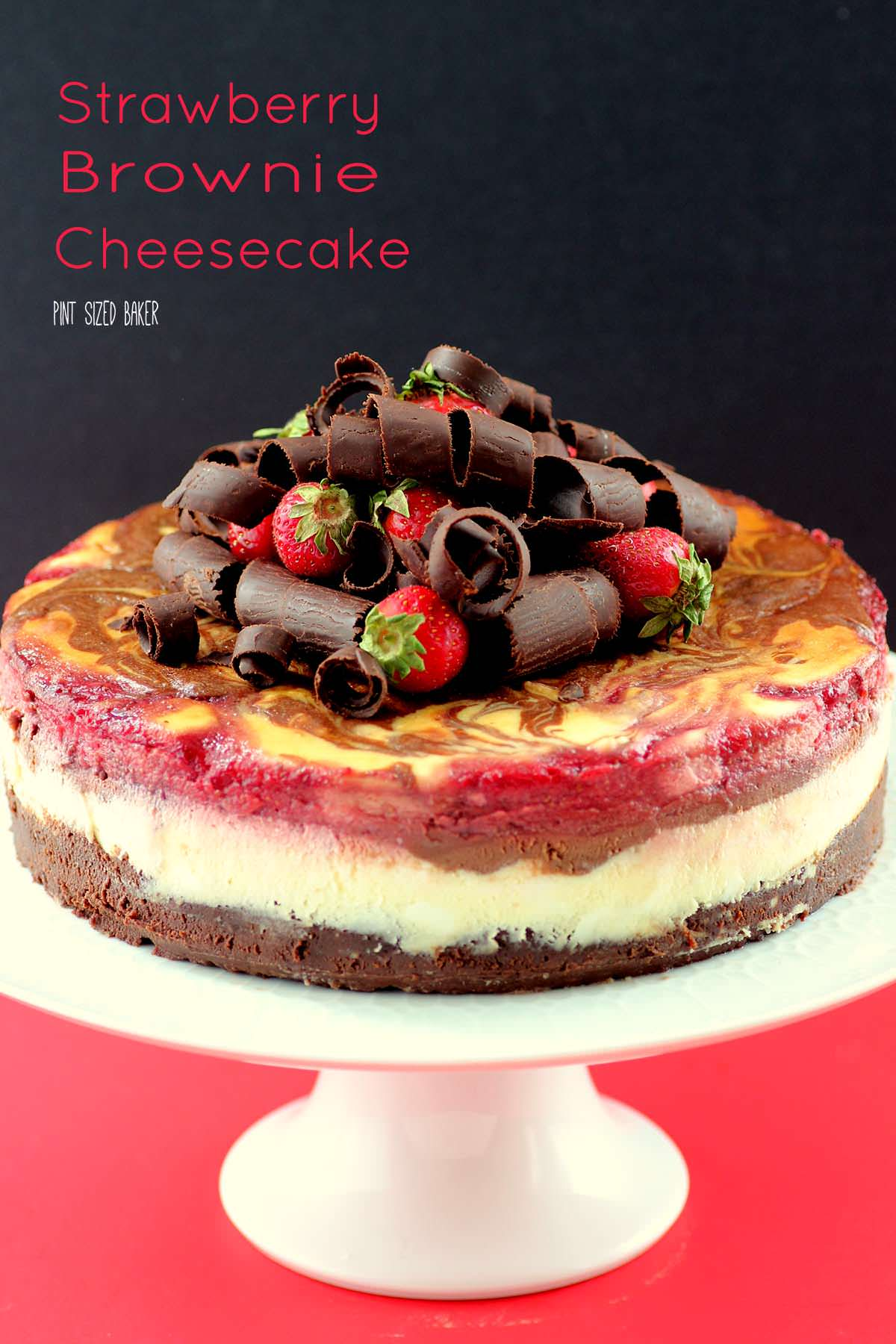 Check out this amazing Strawberry Brownie Cheesecake made with a brownie base, then topped with a layer of strawberries. I'm going to make it right now!