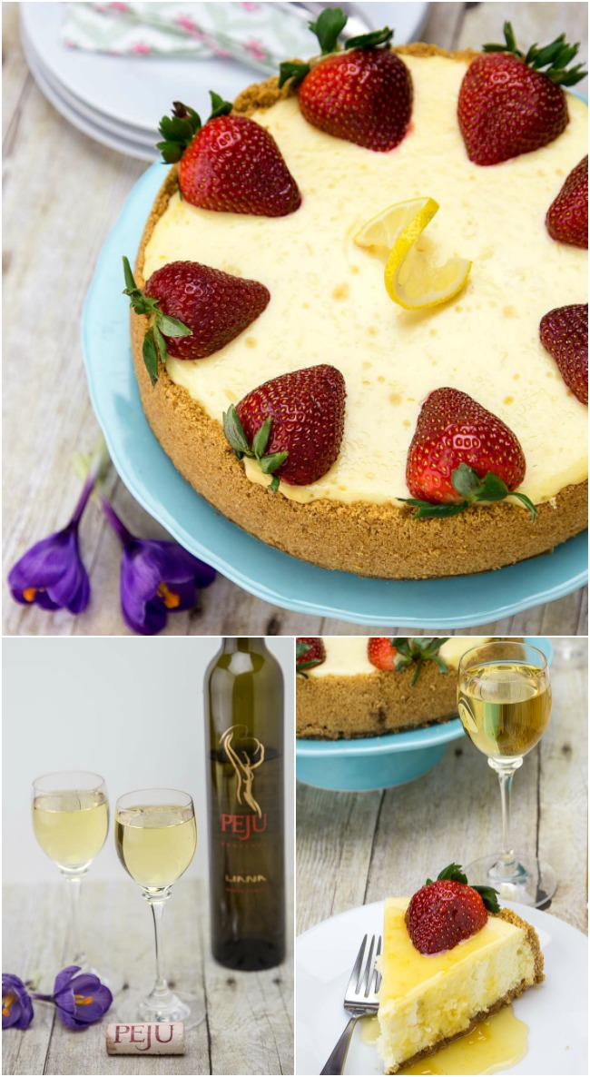 Peju's sweet Liana, a Late Harvest Orange Muscat dessert wine, pairs perfectly with this lemon cheesecake.