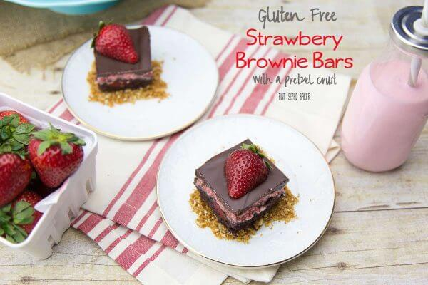 I fell in love with these Strawberry Brownie Bars. Made with premade GF pretzels and a brownie mix, this dessert is a breeze to whip up!