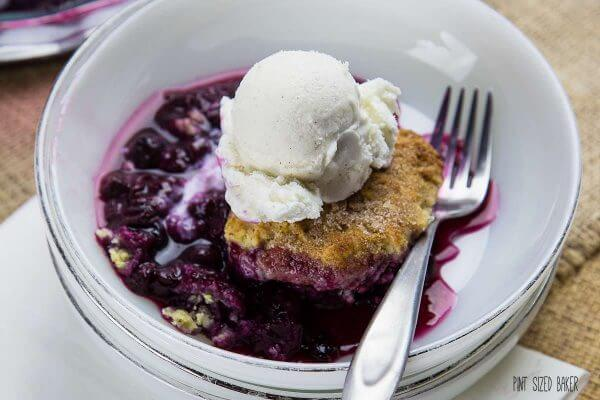 Dig into a big bowl of blueberry cobbler. It's so good!