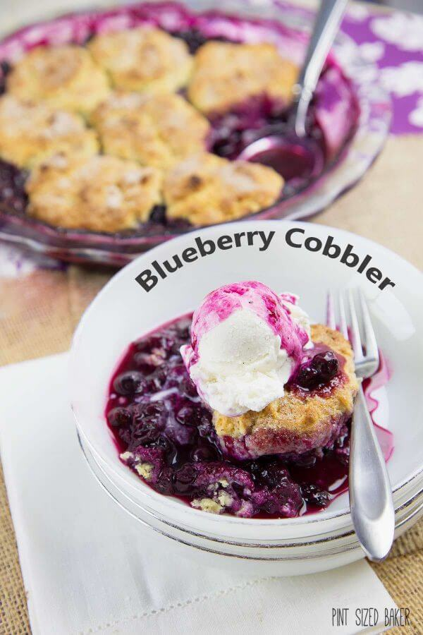 Homemade and ready to eat in under an hour - Enjoy this one pan blueberry cobbler for dessert this summer.