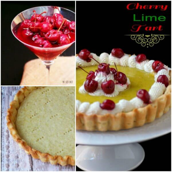 A cherry lime tart that is full of lime curd, a lime tart crust and homemade maraschino cherries.