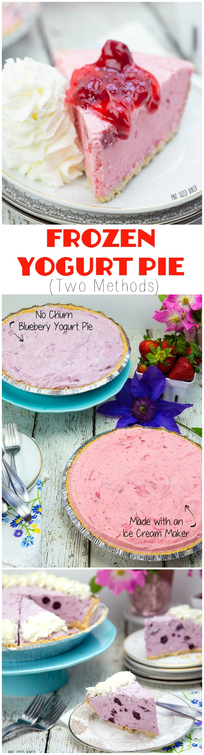 This summer enjoy a Frozen Yogurt Pie! Made with yogurt and your favorite pie filling flavor. Recipes for no churn method and using an ice cream maker.